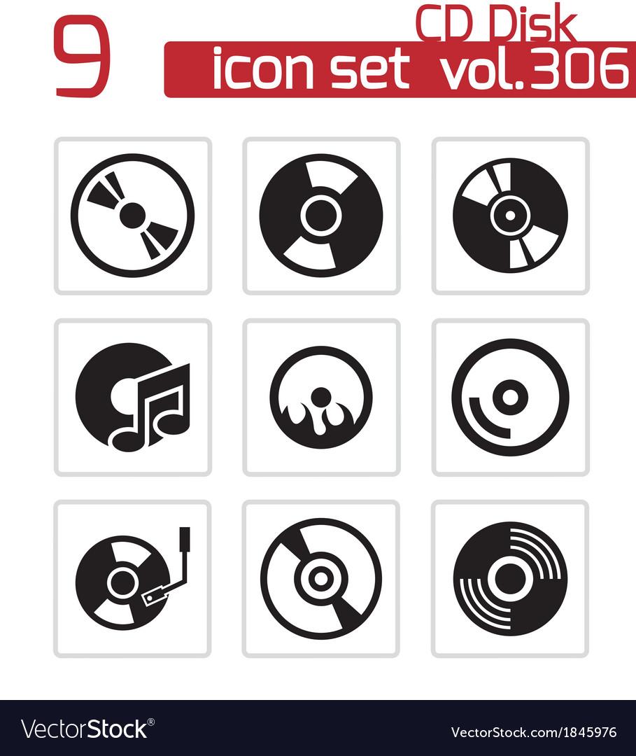 Black cd disk icons set vector   Price: 1 Credit (USD $1)