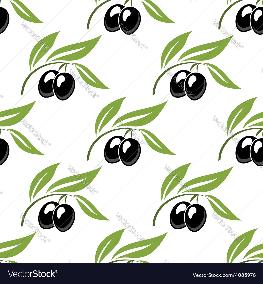 Black olives seamless pattern vector | Price: 1 Credit (USD $1)