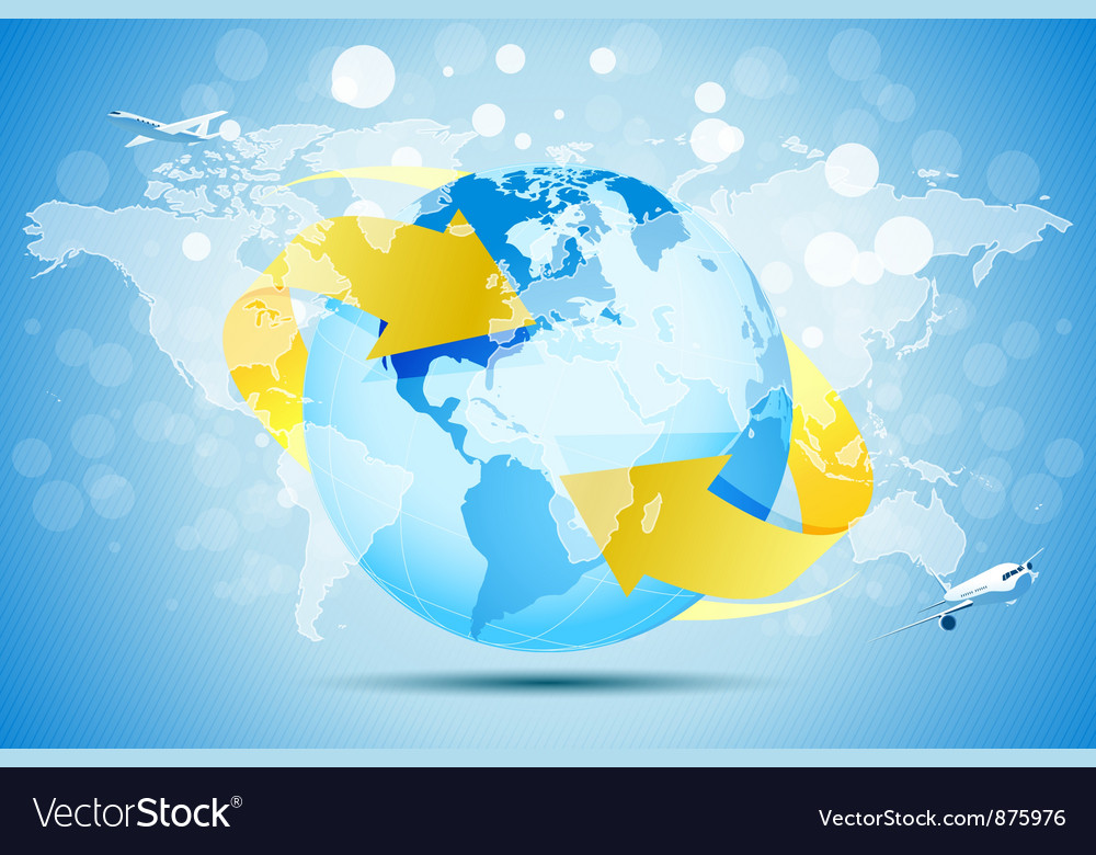 Blue background with planet earth vector | Price: 1 Credit (USD $1)
