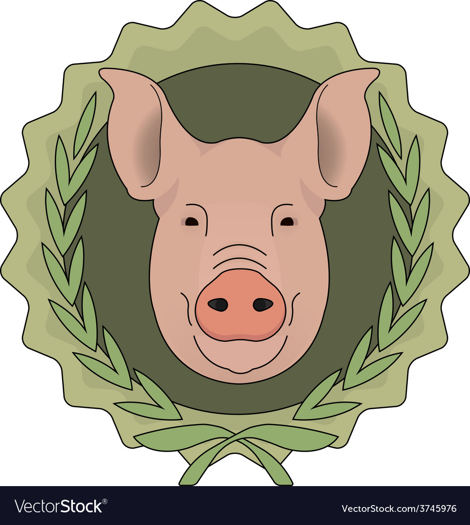 Butchery eco logo pig head in laurel wreath green vector | Price: 1 Credit (USD $1)