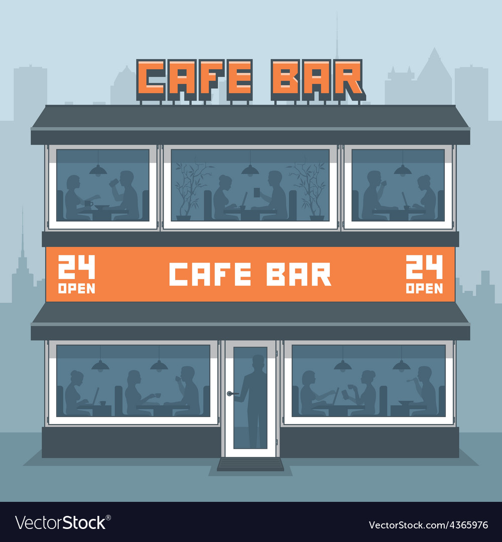 Facade of a cafe vector | Price: 1 Credit (USD $1)