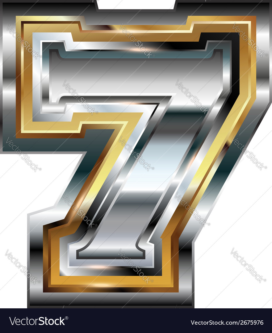 Fancy font number 7 vector | Price: 1 Credit (USD $1)