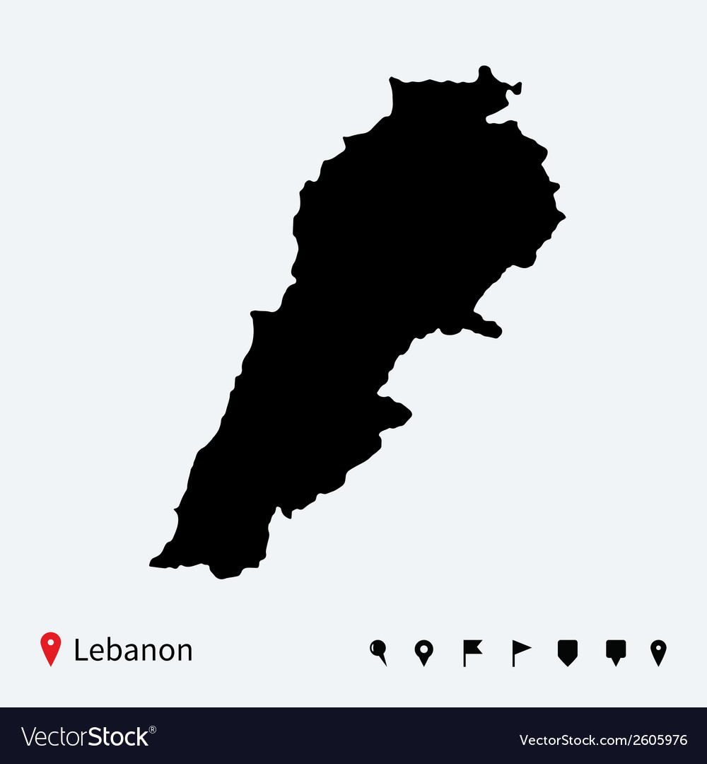High detailed map of lebanon with navigation pins vector | Price: 1 Credit (USD $1)
