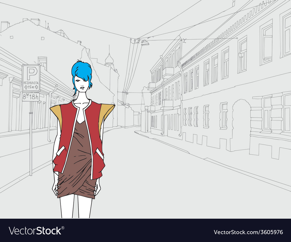 Lady in town vector | Price: 1 Credit (USD $1)