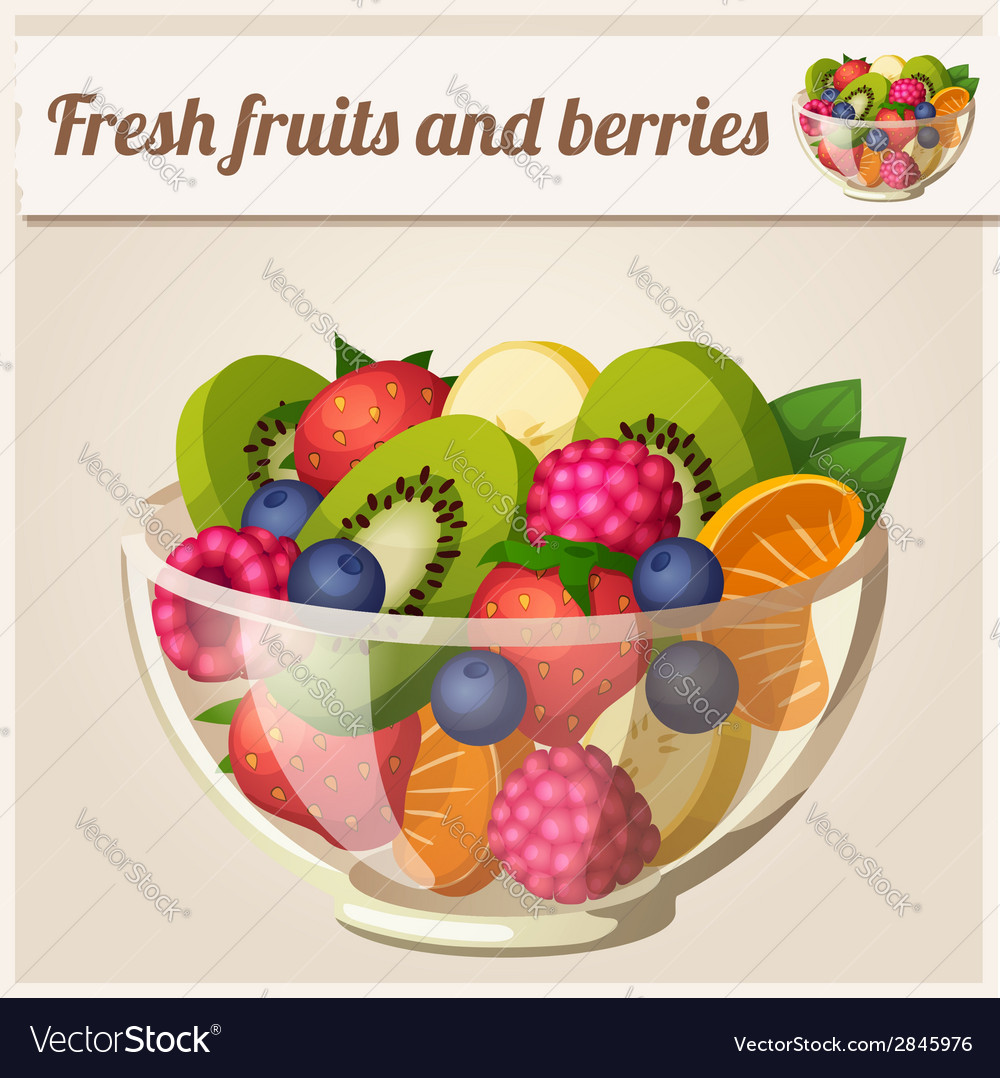 Salad with fresh fruits and berries vector | Price: 3 Credit (USD $3)