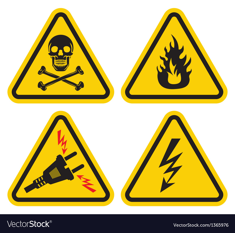 Set of warning sign vector | Price: 1 Credit (USD $1)
