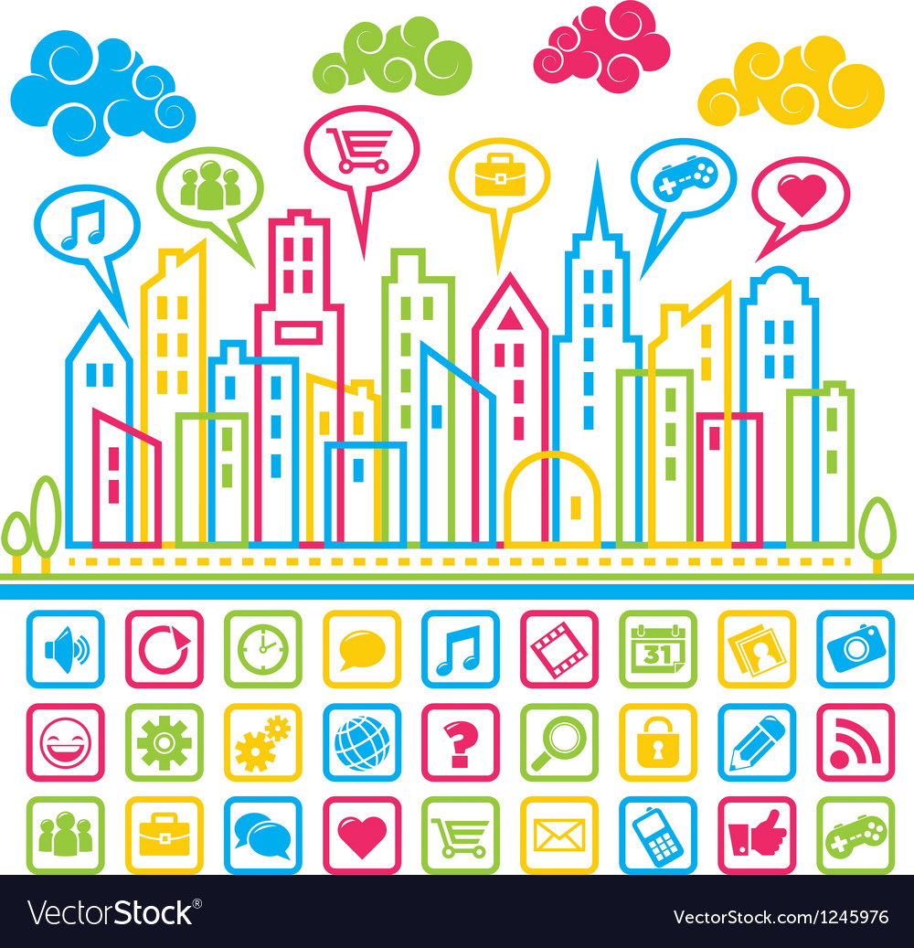 Social media city vector | Price: 1 Credit (USD $1)