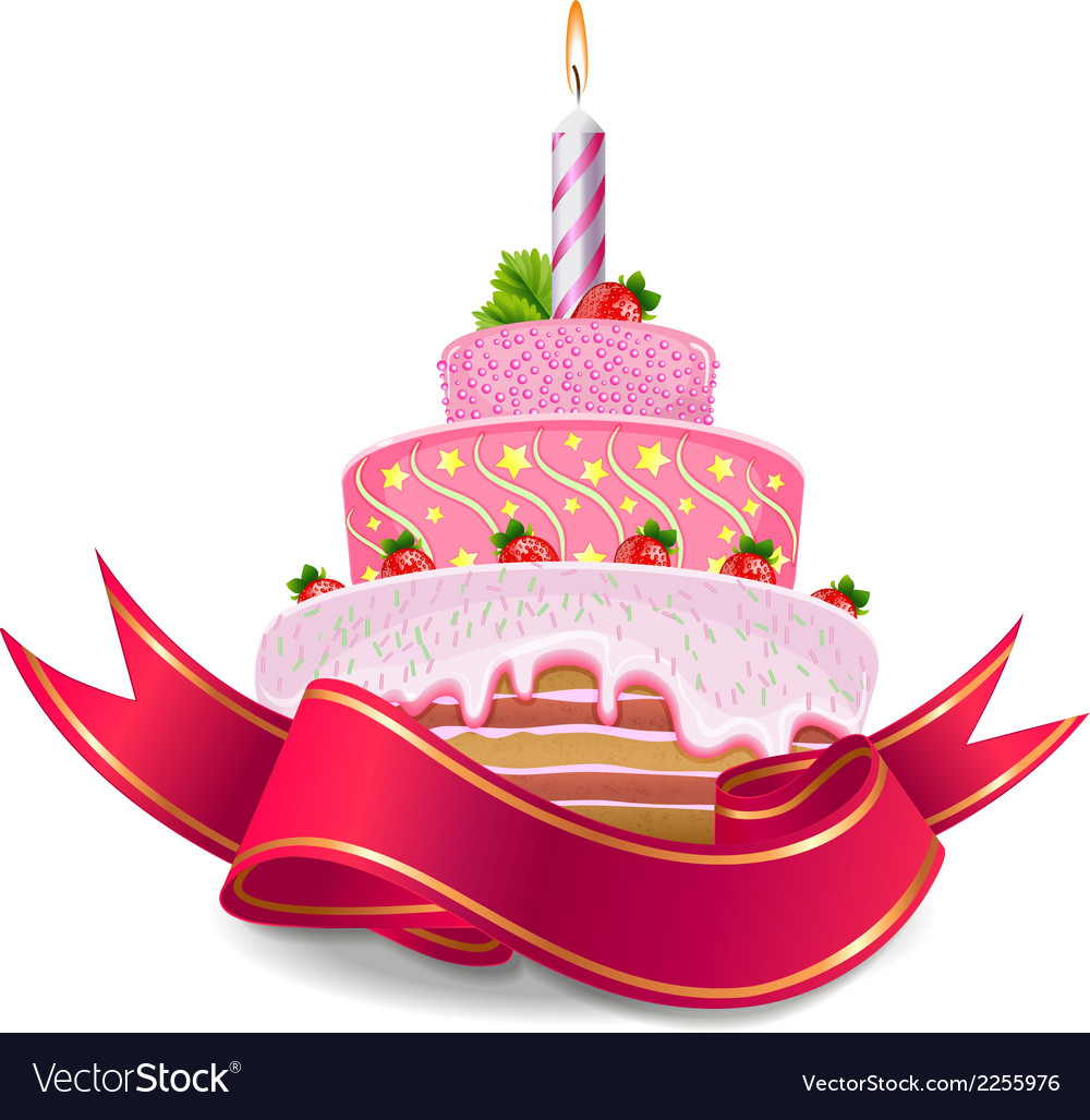 Strawberry cake with candles vector   Price: 1 Credit (USD $1)