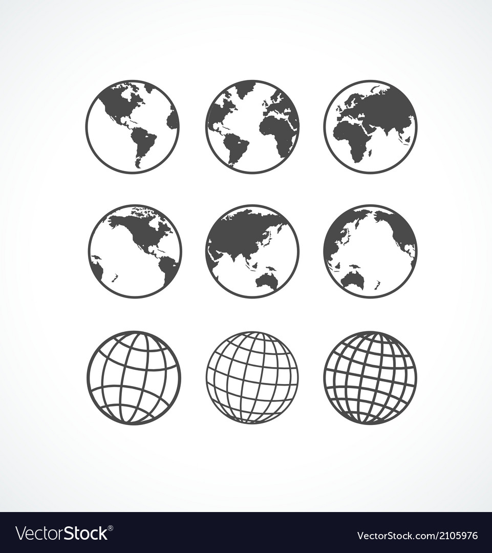Vecrot globe icon set vector | Price: 1 Credit (USD $1)
