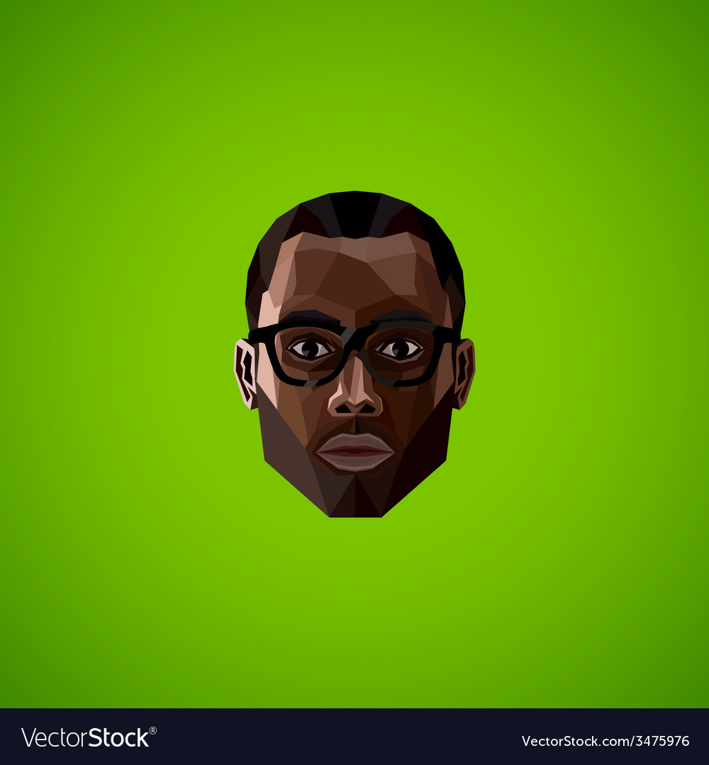 With an african male face in polygonal style vector | Price: 1 Credit (USD $1)