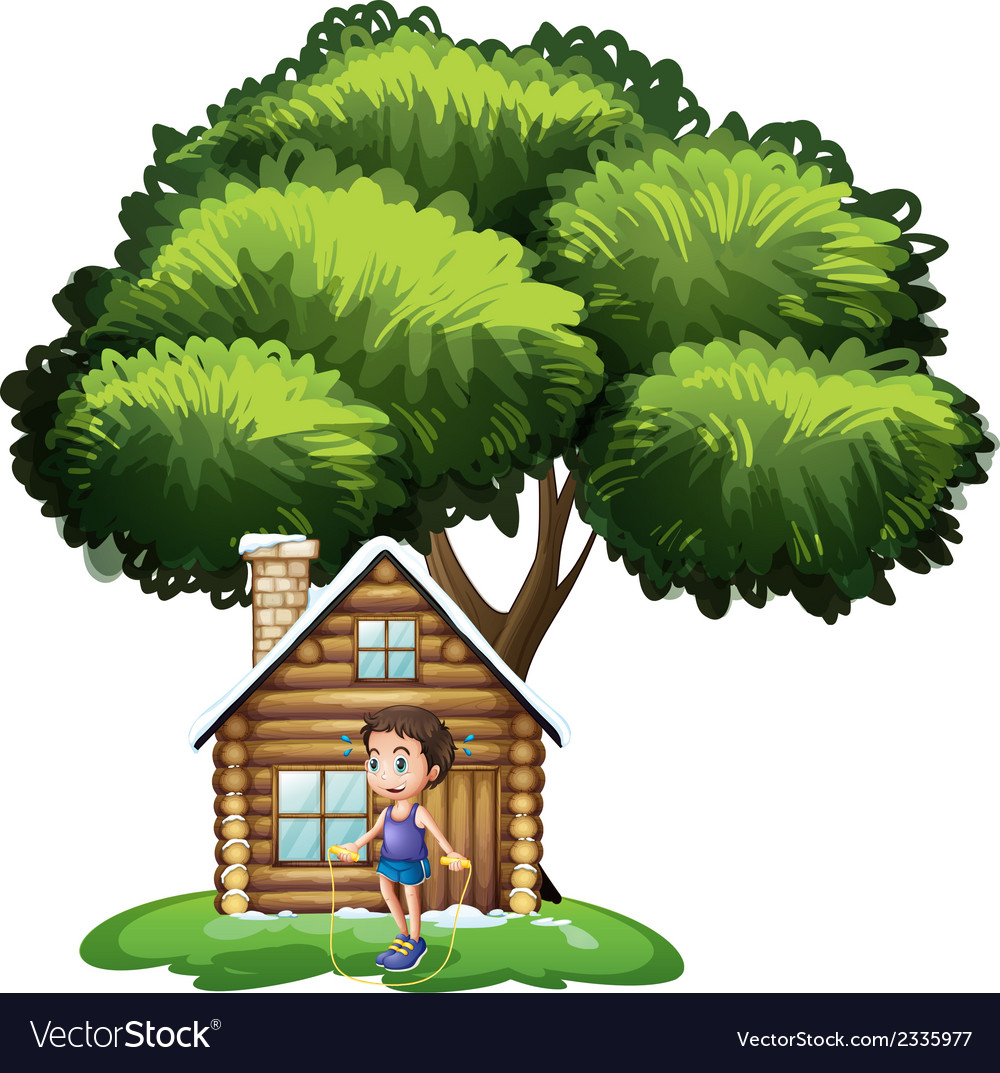 A boy playing outside the wooden house vector | Price: 3 Credit (USD $3)