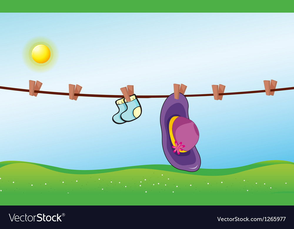 A hat and the blue socks hanging vector | Price: 1 Credit (USD $1)