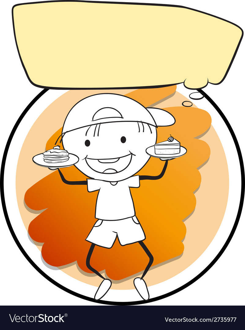 Boy and cakes vector | Price: 1 Credit (USD $1)