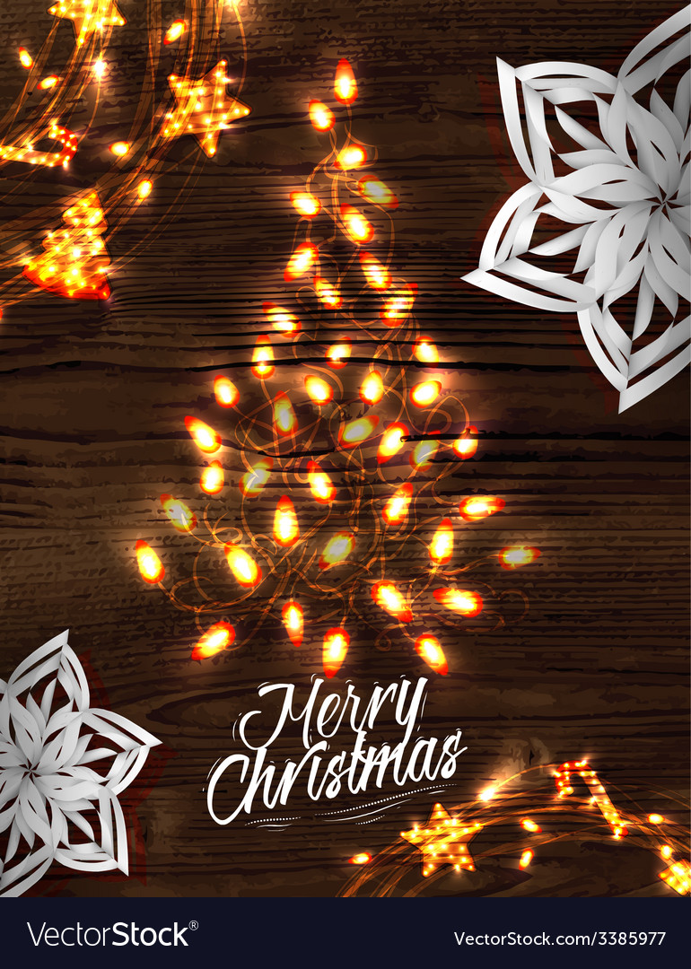 Christmas tree garland poster vector   Price: 1 Credit (USD $1)