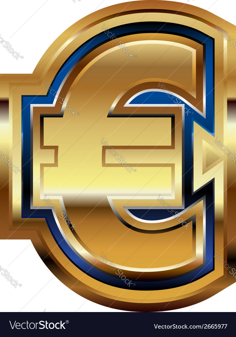 Golden euro symbol vector | Price: 1 Credit (USD $1)