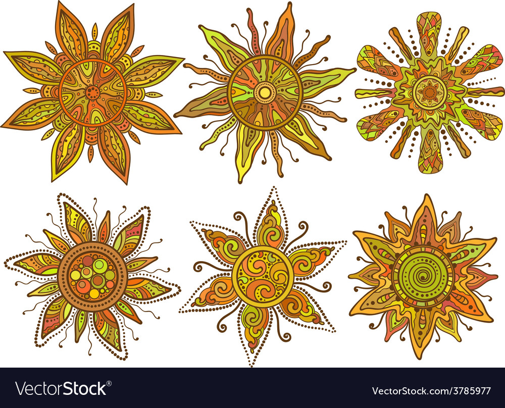 Print of six ornamental suns with a lot of vector | Price: 1 Credit (USD $1)