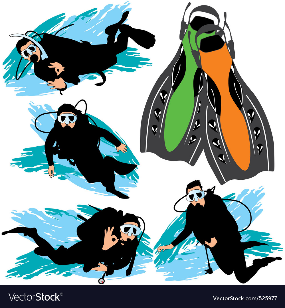 Scuba diving silhouettes set vector | Price: 1 Credit (USD $1)