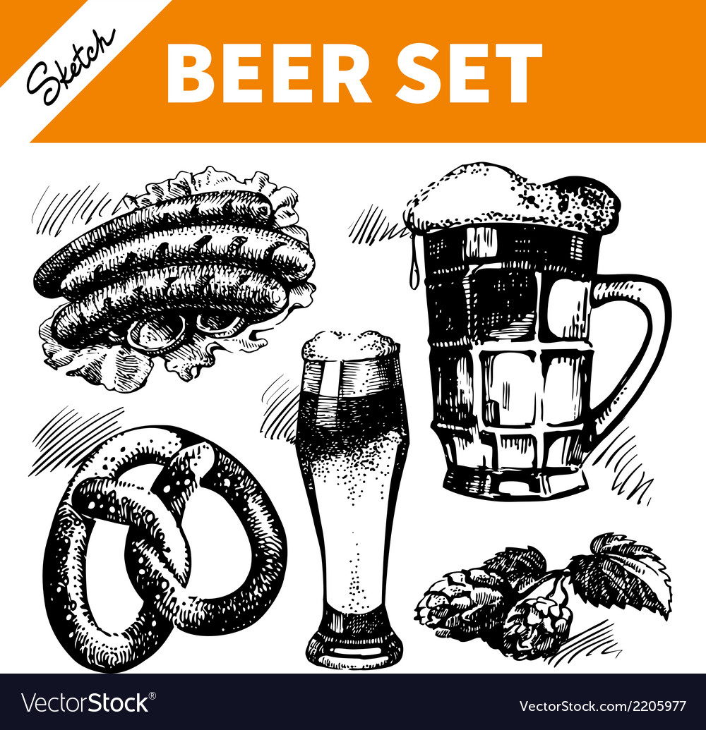 Sketch oktoberfest set of beer vector | Price: 1 Credit (USD $1)