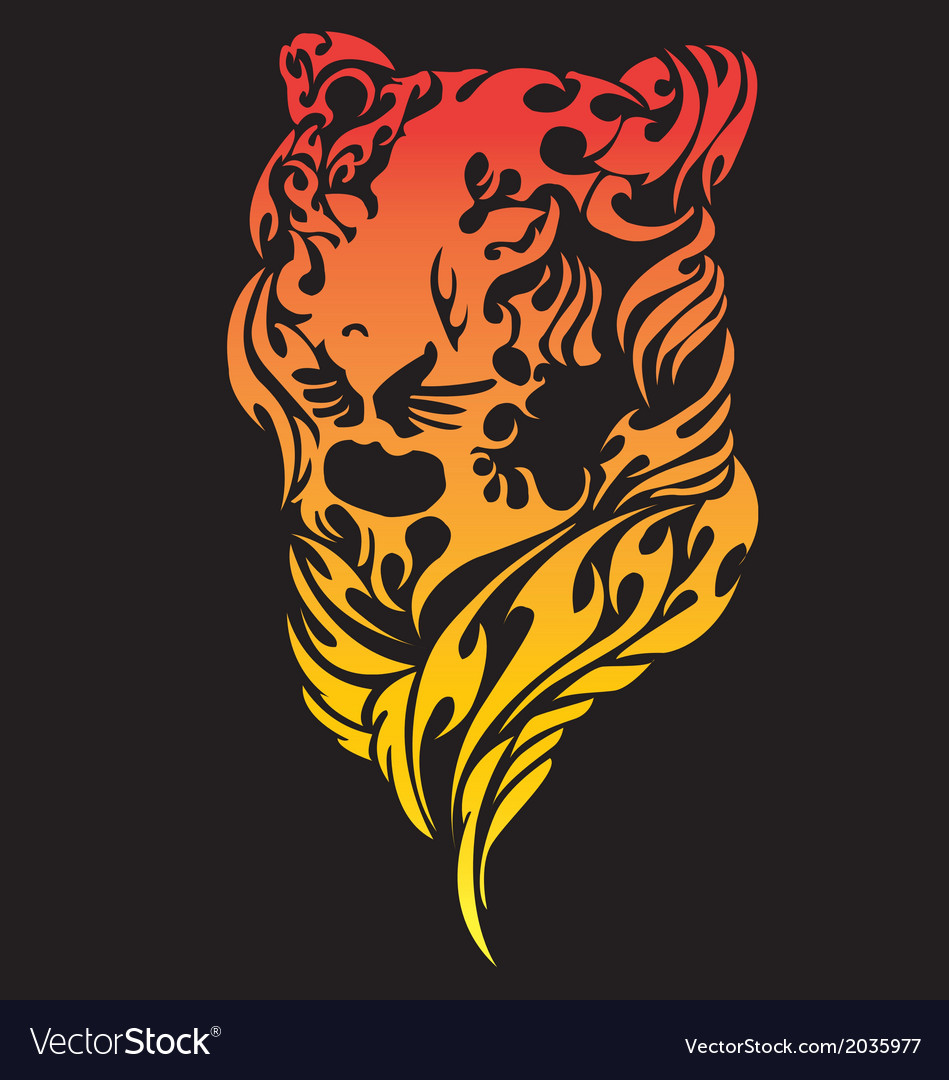Tribal art of women tiger face tattoo vector | Price: 1 Credit (USD $1)