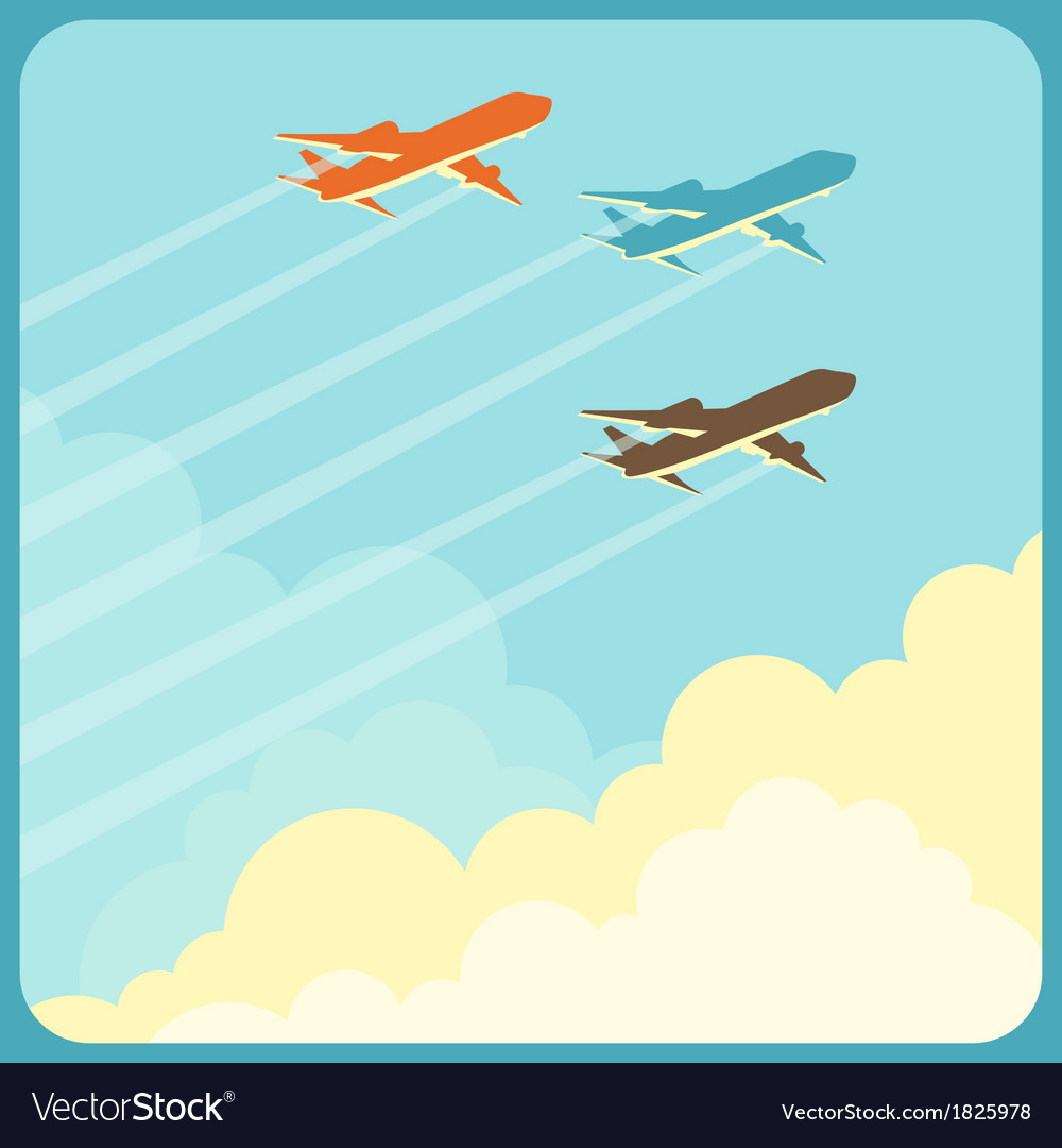 Airplanes flying in the sky over clouds vector | Price: 1 Credit (USD $1)