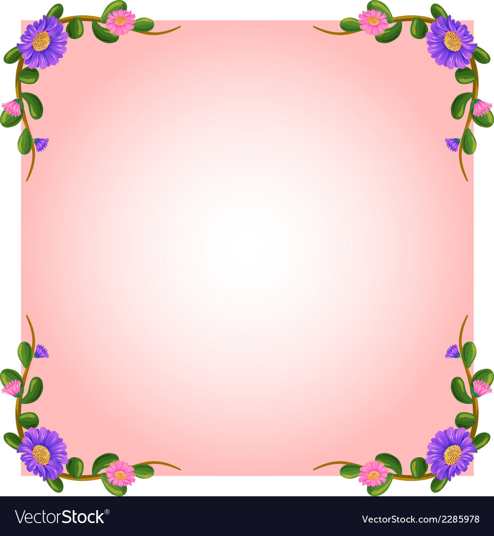 An empty pink template with floral margin vector | Price: 1 Credit (USD $1)