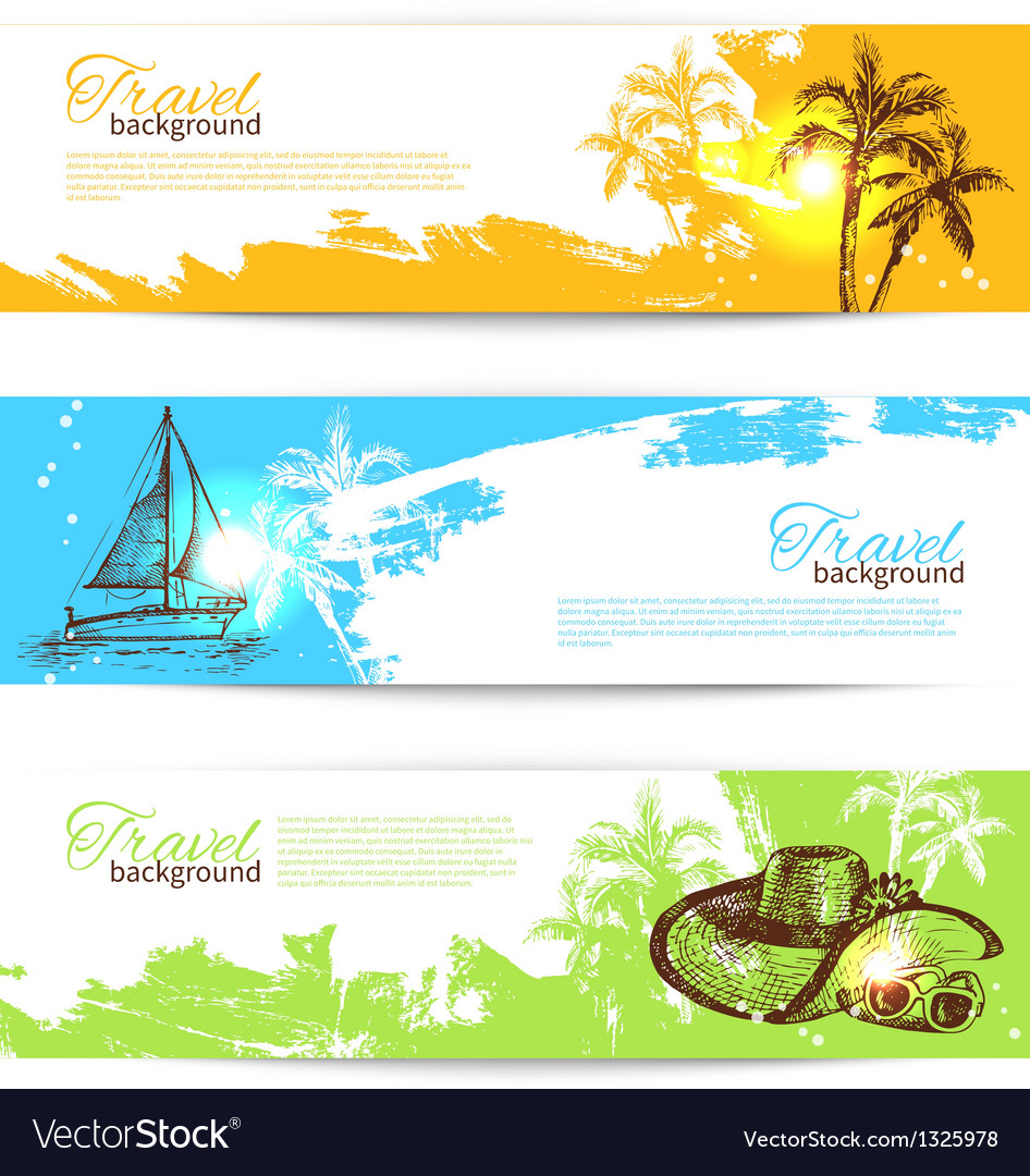 Banner set of travel colorful tropical backgrounds vector | Price: 1 Credit (USD $1)