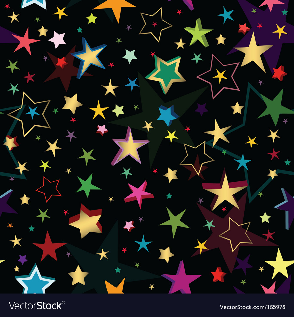 Black seamless pattern with stars vector | Price: 1 Credit (USD $1)