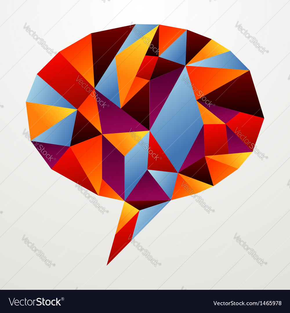 Diversity origami speech bubble isolated vector | Price: 1 Credit (USD $1)
