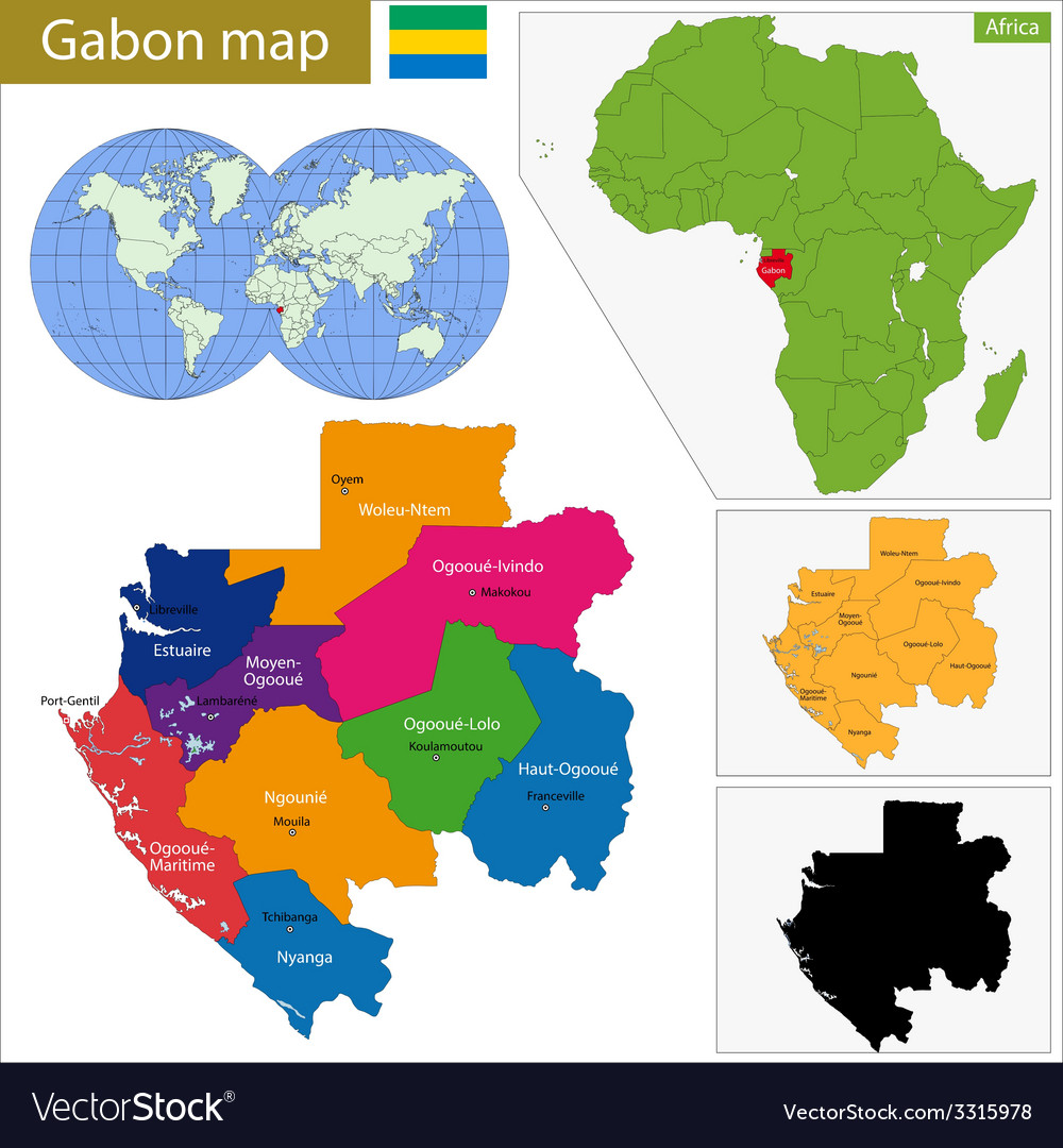 Gabon map vector | Price: 1 Credit (USD $1)