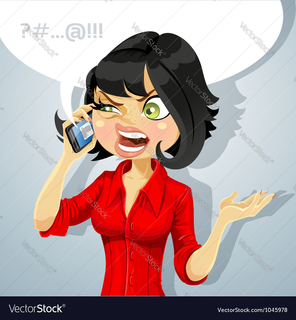 Girl talking on phone about something unpleasant vector | Price: 3 Credit (USD $3)