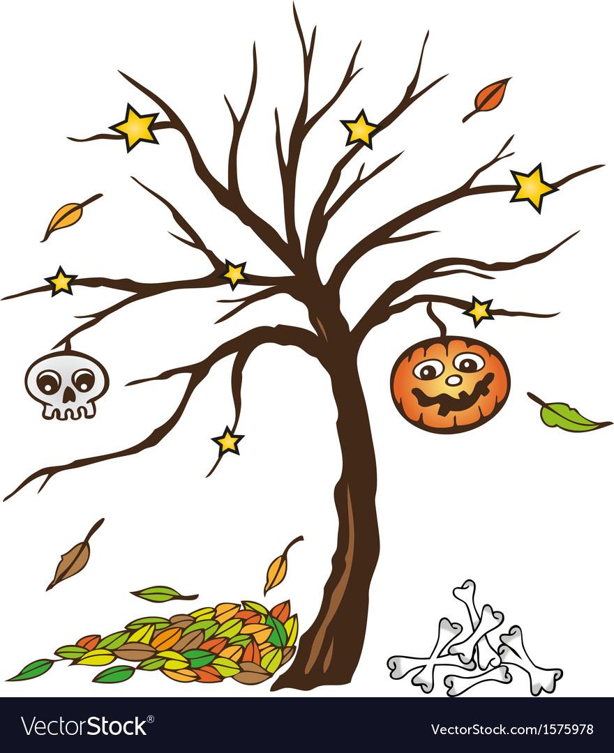 Halloween tree pumpkin skull vector   Price: 1 Credit (USD $1)