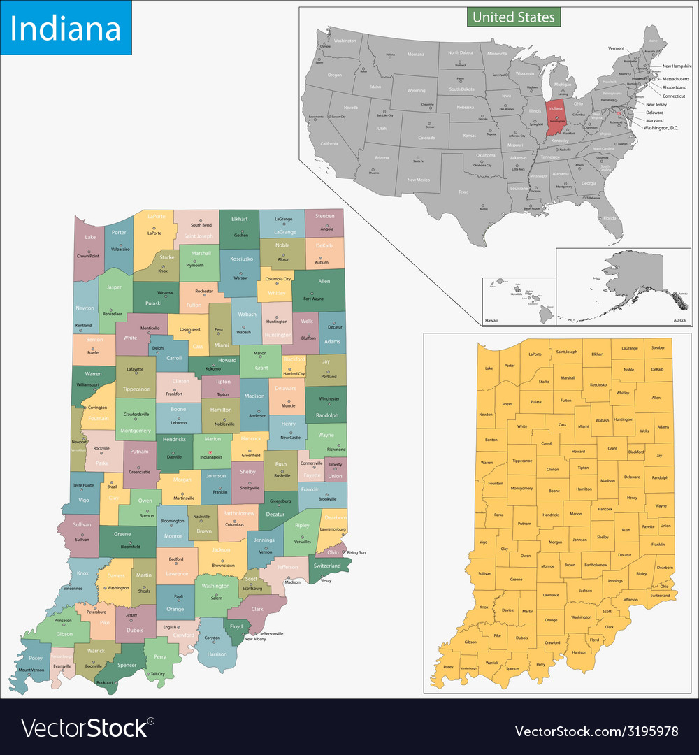 Indiana map vector | Price: 1 Credit (USD $1)