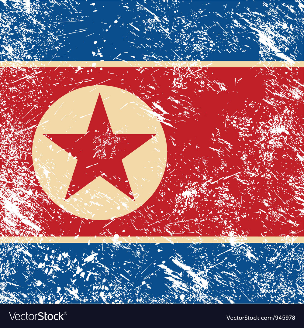 North korea retro flag vector | Price: 1 Credit (USD $1)