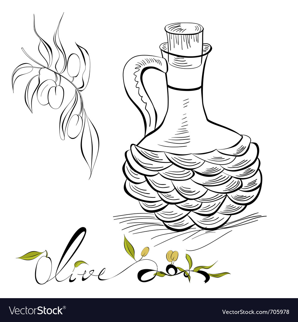Olive and pitcher with olive oil vector | Price: 1 Credit (USD $1)