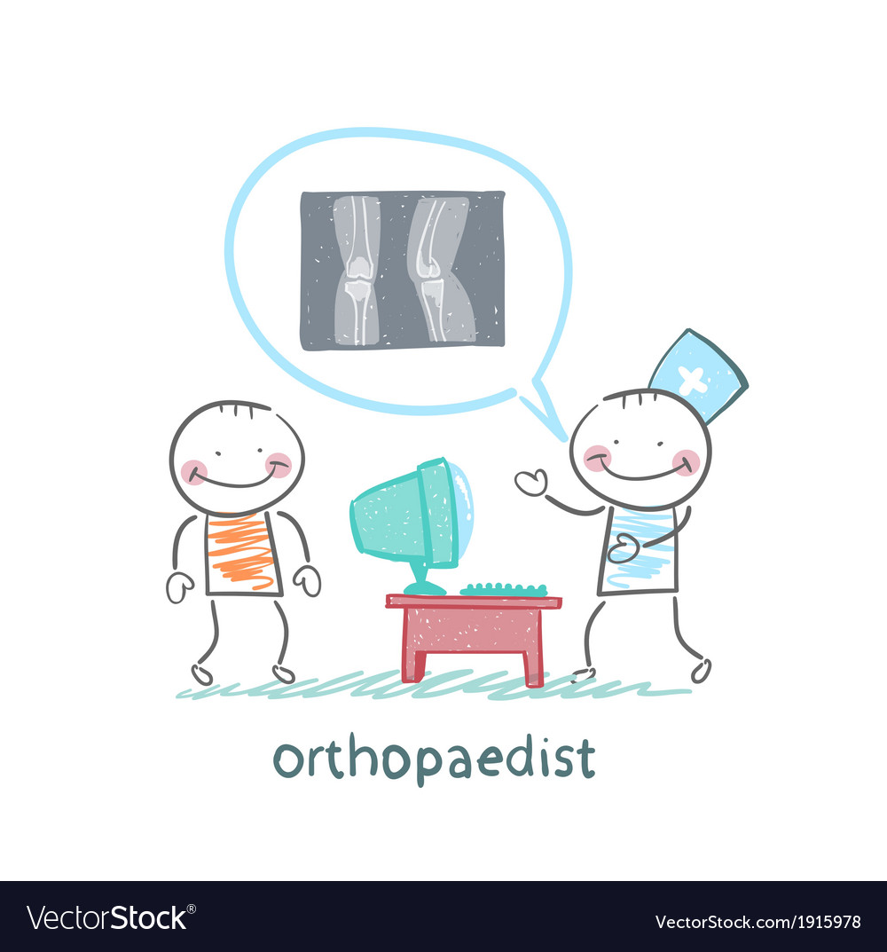 Orthopaedist tells the patient about an x-ray vector | Price: 1 Credit (USD $1)