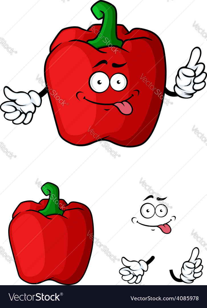 Red bell pepper character vector | Price: 1 Credit (USD $1)