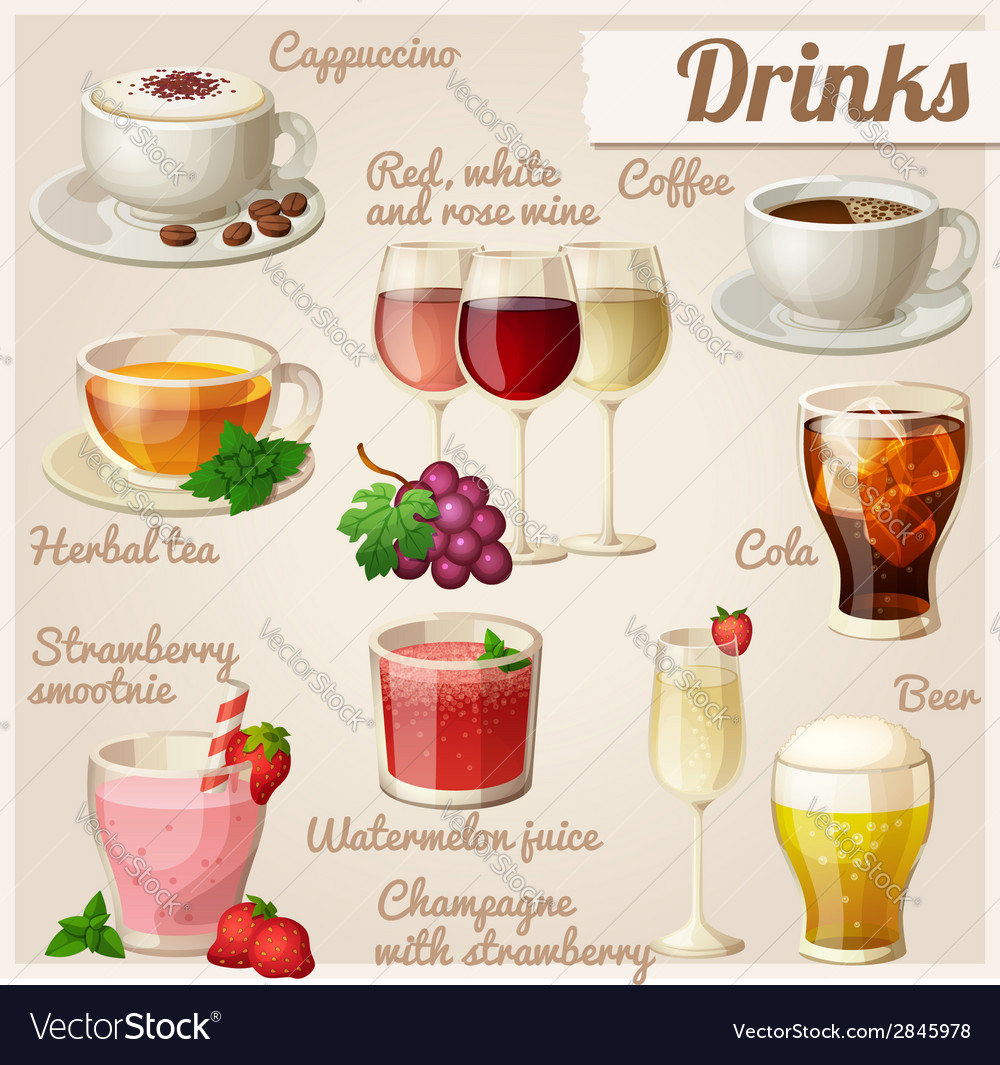 Set of food icons drinks vector | Price: 3 Credit (USD $3)