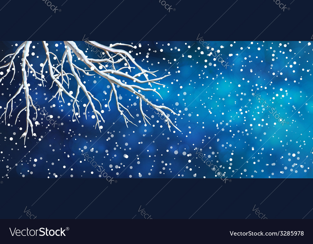 Sky tree branches christmas banner vector | Price: 1 Credit (USD $1)