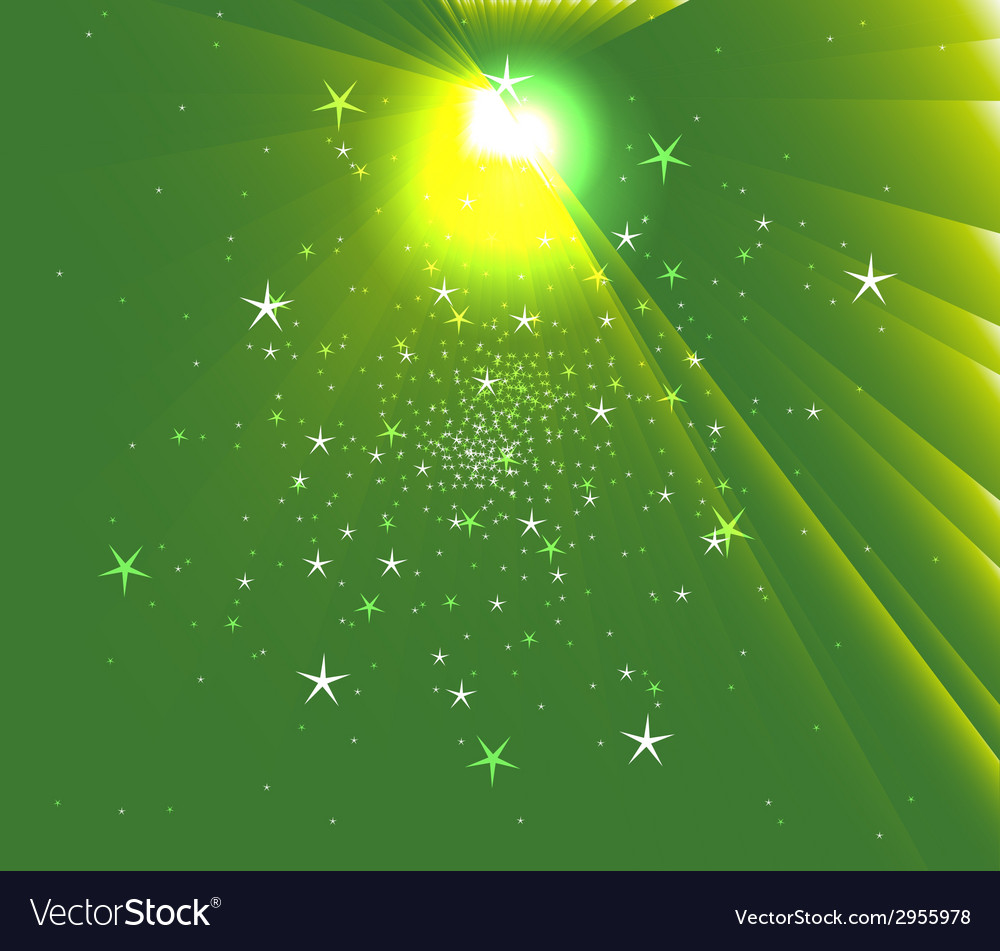 Sunbeam star green background vector | Price: 1 Credit (USD $1)