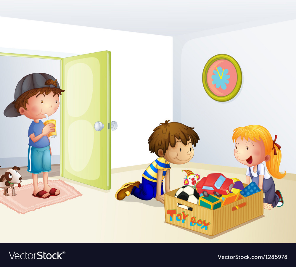 Three kids inside the house with a box of toys vector | Price: 1 Credit (USD $1)