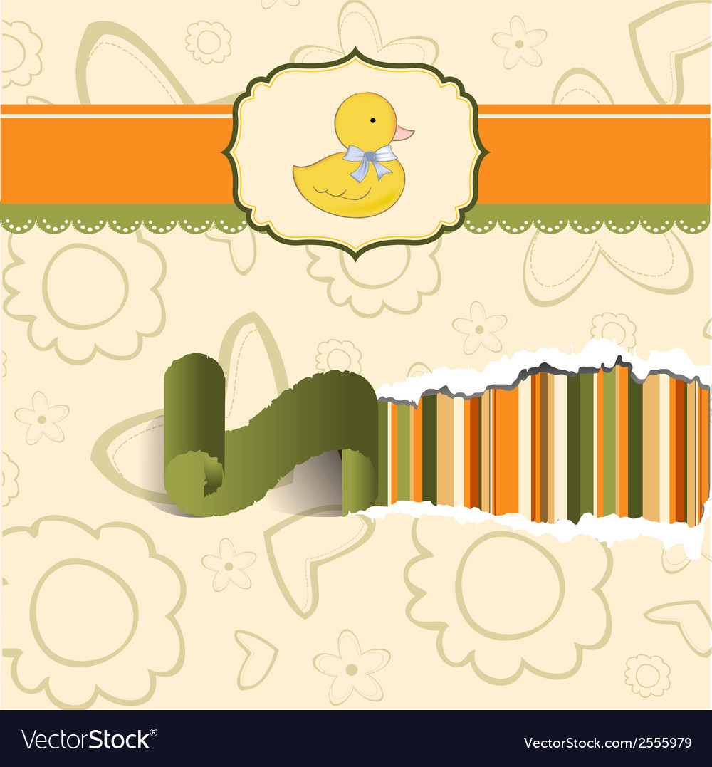 Baby shower card with little duck vector | Price: 1 Credit (USD $1)