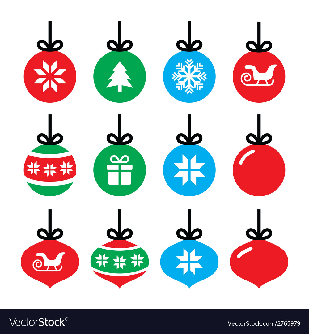 Christmas ball christmas bauble icons set vector | Price: 1 Credit (USD $1)