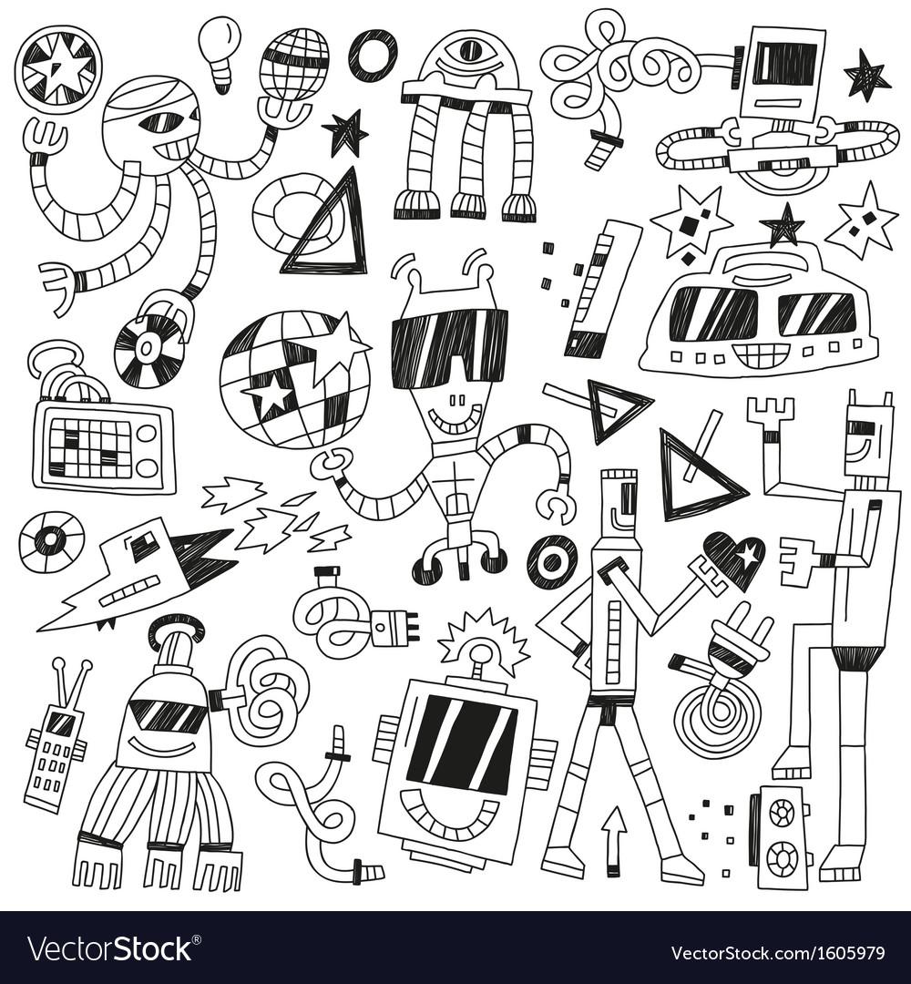 Dancing robots - doodles vector | Price: 1 Credit (USD $1)