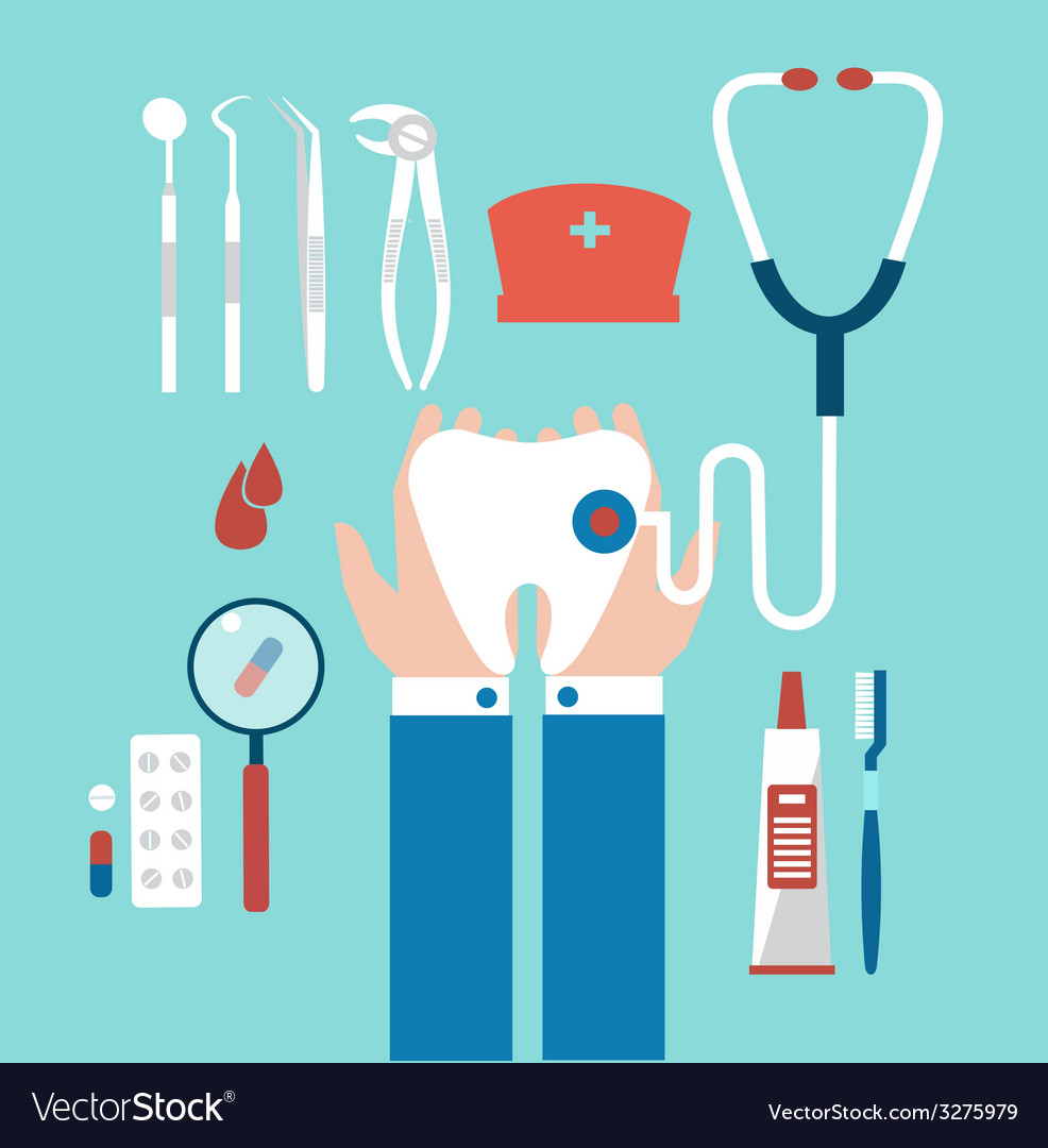 Dentist holding a tooth vector | Price: 1 Credit (USD $1)