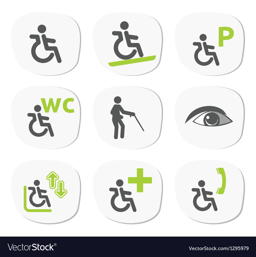 Disabled people signs vector | Price: 1 Credit (USD $1)