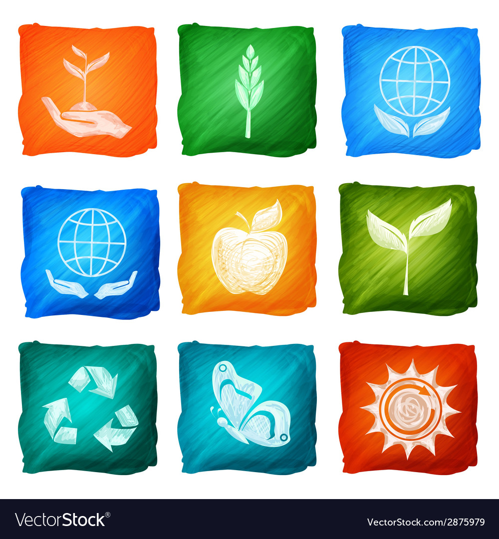 Ecology icons watercolor vector | Price: 1 Credit (USD $1)