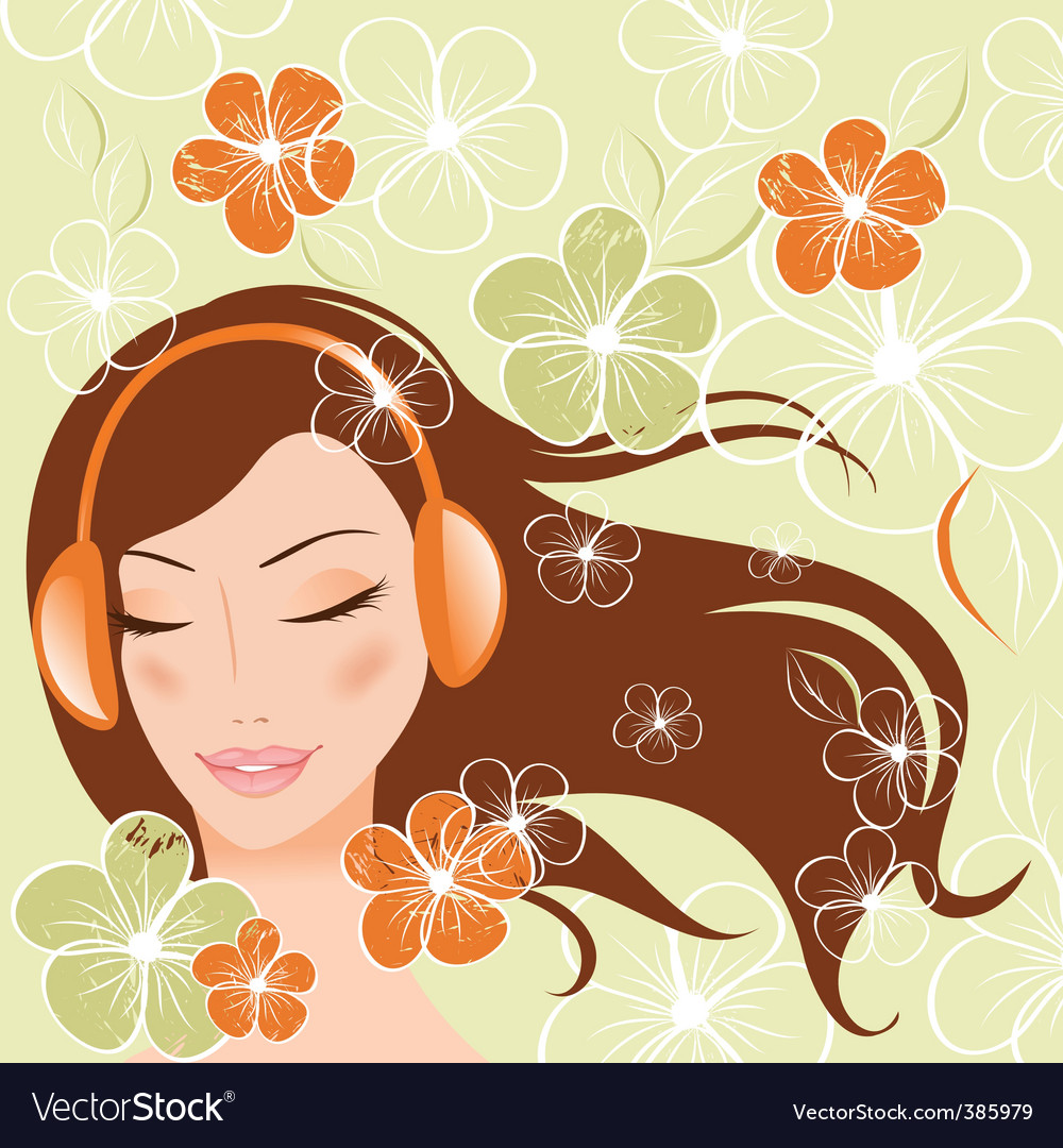 Girl with headphones vector | Price: 1 Credit (USD $1)