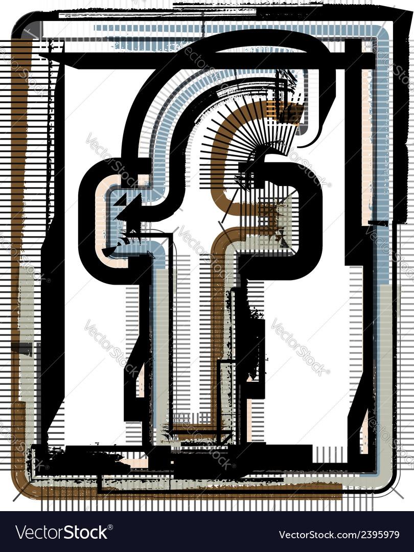 Grunge font letter f vector | Price: 1 Credit (USD $1)