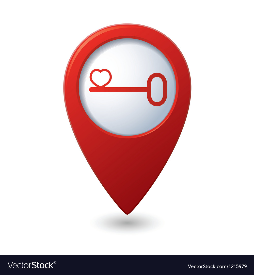 Key with heart map pointer vector | Price: 1 Credit (USD $1)