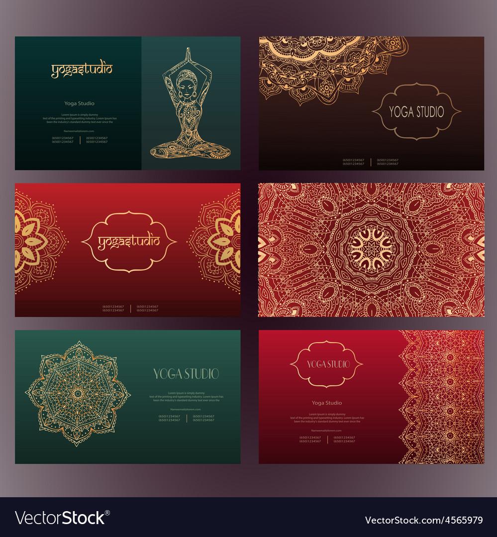 Mandalas business card 4 yoga vector | Price: 1 Credit (USD $1)
